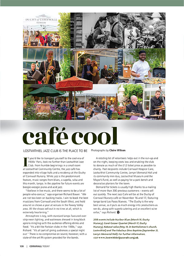 Cornwall Today article about Jazz Cafe