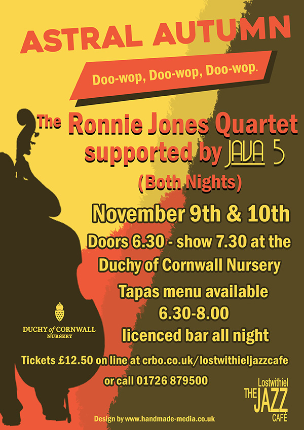 Lostwithiel Jazz Cafe presents Astral Autumn on 9th and 10th November at Duchy of Cornwall Nursery